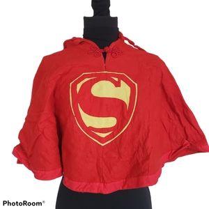 Vintage Handmade Childs Felt Superman Cape Poncho